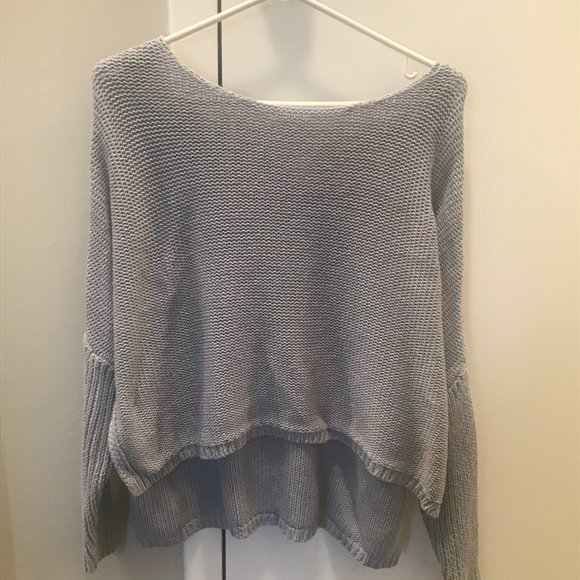 Garage Light Grey/Blue Knit Cropped Sweater